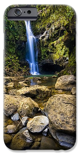 Hawaii Islands iPhone Cases - Maui Waterfall iPhone Case by Adam Romanowicz