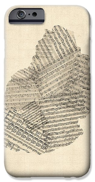 Old Digital Art iPhone Cases - Mauritius Old Sheet Music Map iPhone Case by Michael Tompsett