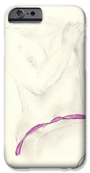 Lilacs Drawings iPhone Cases - Mauve Ribbon iPhone Case by Paolo Marini