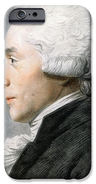 Hairstyle iPhone Cases - Maximilien de Robespierre  iPhone Case by Joseph Boze