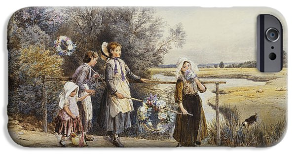 Mid Adult iPhone Cases - May Day Garlands iPhone Case by Myles Birket Foster
