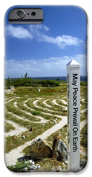 Inner World iPhone Cases - May Peace Prevail on Earth Peace Labyrinth Aruba iPhone Case by Amy Cicconi