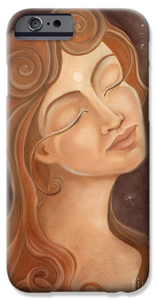 Spiritual Portrait Of Woman Pastels iPhone Cases - May The Stars Align iPhone Case by Xiomara Aleksic