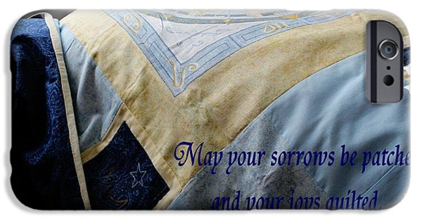 Quilt Blue Blocks iPhone Cases - May Your Sorrows be Patched and Your Joys Quilted iPhone Case by Barbara Griffin
