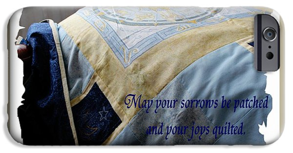 Queen Size Quilts Tapestries - Textiles iPhone Cases - May Your Sorrows be Patched and Your Joys Quilted iPhone Case by Barbara Griffin