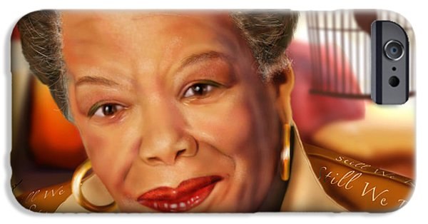 Cage Paintings iPhone Cases - Maya Angelou Rise of the Song Bird iPhone Case by Reggie Duffie