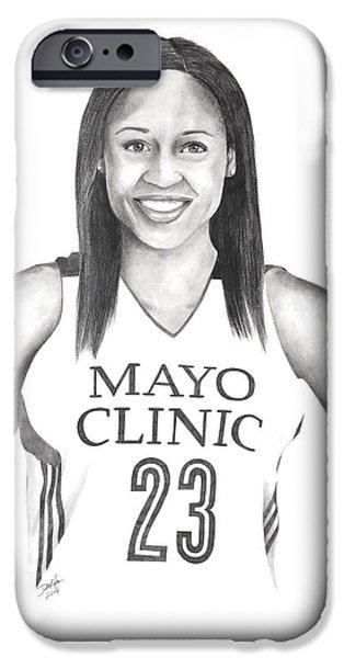 Minnesota Drawings iPhone Cases - Maya Moore iPhone Case by Devin Millington