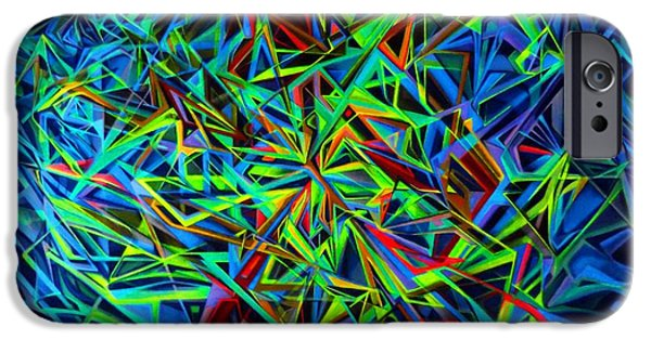 Abstract Digital Drawings iPhone Cases - MAYAN SPACE - UV light iPhone Case by The Door Project