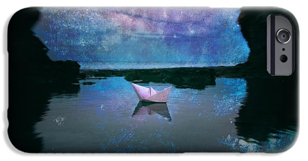 Sailboat Ocean iPhone Cases - Maybe Stars iPhone Case by Stylianos Kleanthous