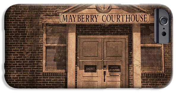 Mt Airy North Carolina iPhone Cases - Mayberry Courthouse iPhone Case by David Arment
