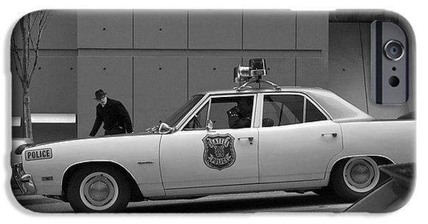 Police Cruiser iPhone Cases - Mayberry Meets Seattle - vintage police cruiser iPhone Case by Jane Eleanor Nicholas