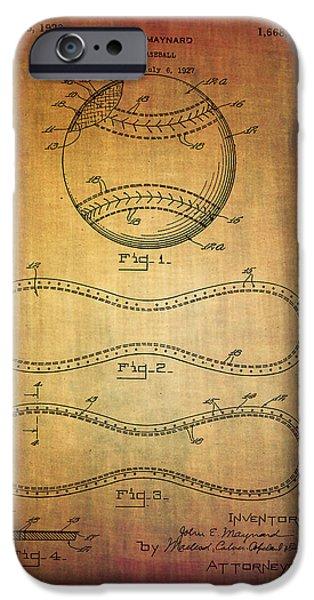 Slam Mixed Media iPhone Cases - Maynards Baseball patent from 1927 iPhone Case by Eti Reid