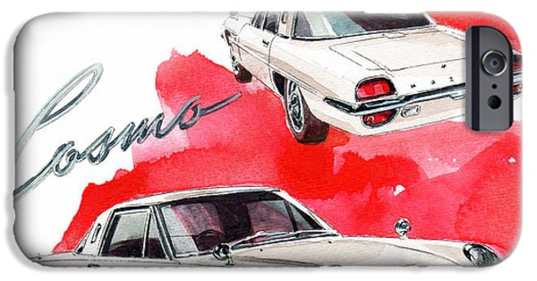 Cosmos Paintings iPhone Cases - Mazda Cosmo Sport iPhone Case by Yoshiharu Miyakawa