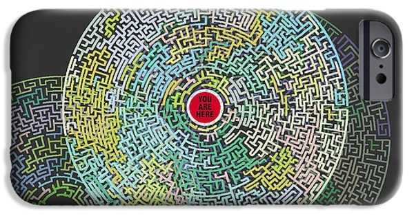 Recently Sold -  - Abstract Digital Mixed Media iPhone Cases - Maze You Cant Get There From Here iPhone Case by Tony Rubino