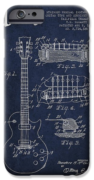 Mccarty Gibson Les Paul guitar patent Drawing from 1955 - Navy Blue iPhone Case by Aged Pixel