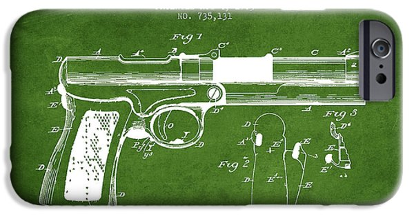 Weapon iPhone Cases - McClean Pistol Drawing from 1903 - Green iPhone Case by Aged Pixel
