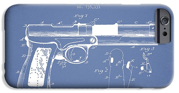 Pistol iPhone Cases - McClean Pistol Drawing from 1903 - Light Blue iPhone Case by Aged Pixel
