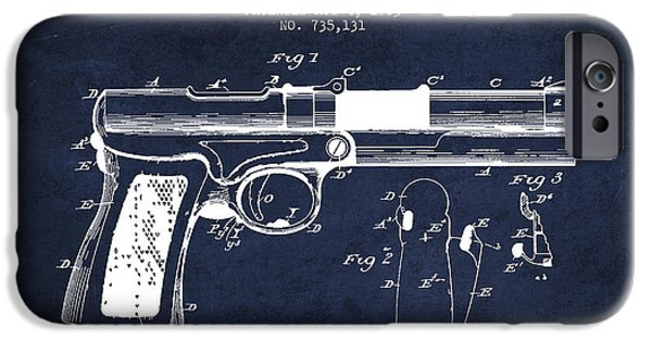 Weapon iPhone Cases - McClean Pistol Drawing from 1903 - Navy Blue iPhone Case by Aged Pixel