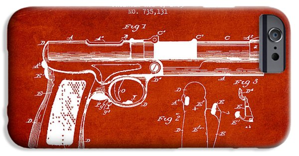 Weapon iPhone Cases - McClean Pistol Drawing from 1903 - Red iPhone Case by Aged Pixel