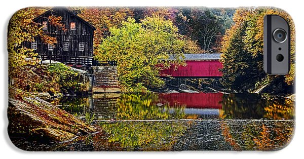 Snow iPhone Cases - McConnells Mill and Covered Bridge iPhone Case by Marcia Colelli