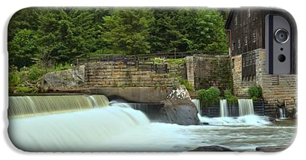 Grist Mill iPhone Cases - McConnells Mill Panorama iPhone Case by Adam Jewell