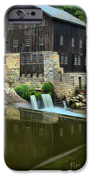 Grist Mill iPhone Cases - McConnells Mill Portrait Reflections iPhone Case by Adam Jewell
