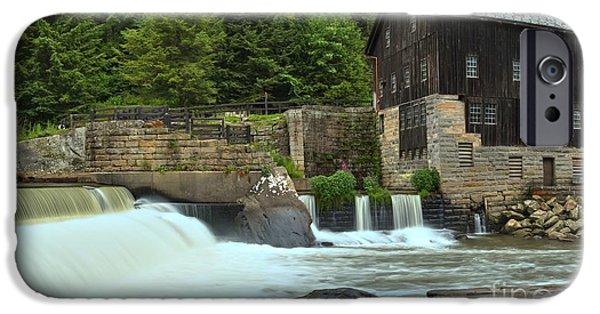 Grist Mill iPhone Cases - McConnells Mill State Park Spillway iPhone Case by Adam Jewell