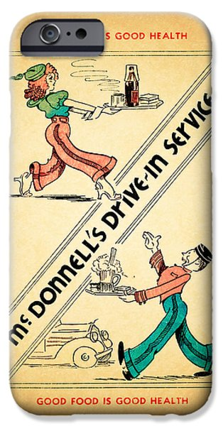 Menu iPhone Cases - McDonnells Drive In 1948 iPhone Case by Mark Rogan
