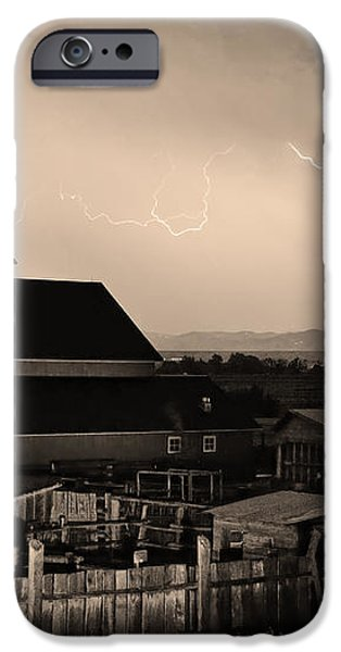McIntosh Farm Lightning Sepia Thunderstorm iPhone Case by James BO  Insogna