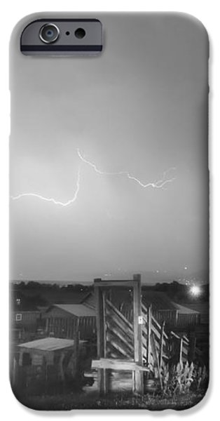 McIntosh Farm Lightning Thunderstorm View BW iPhone Case by James BO  Insogna