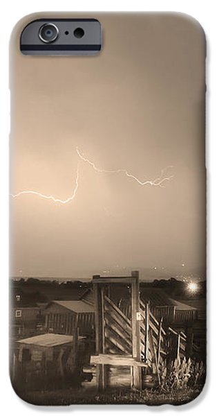 McIntosh Farm Lightning Thunderstorm View Sepia iPhone Case by James BO  Insogna