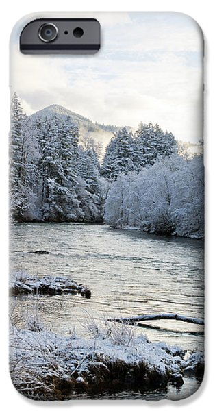Snow Scene iPhone Cases - McKenzie River iPhone Case by Belinda Greb