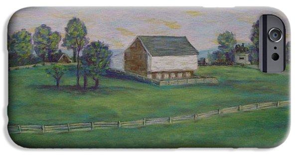 War Pastels iPhone Cases - McPhersons Barn Gettysburg iPhone Case by Joann Renner