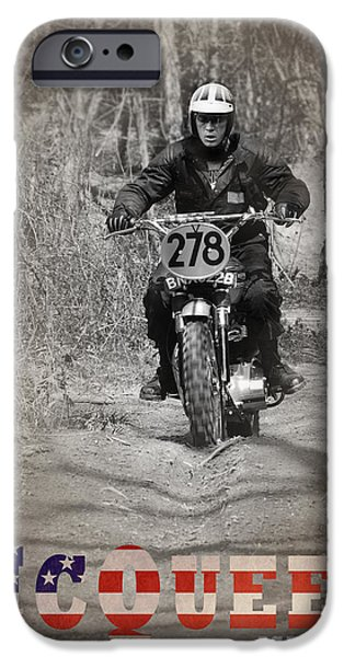 Steve Mcqueen iPhone Cases - McQueen ISDT 1964 iPhone Case by Mark Rogan