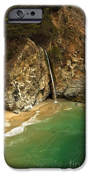 Big Sur Ca iPhone Cases - McWay Into The Pacific iPhone Case by Adam Jewell