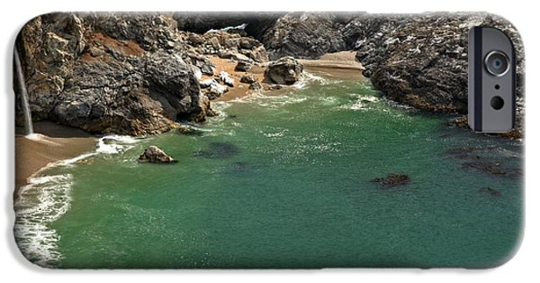 Big Sur Ca iPhone Cases - McWay Into The Bay iPhone Case by Adam Jewell
