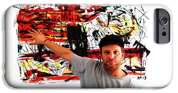 Buildings Mixed Media iPhone Cases - Me Artist At His Art Exhibition  Abstract Paintings iPhone Case by Sir Josef  Putsche