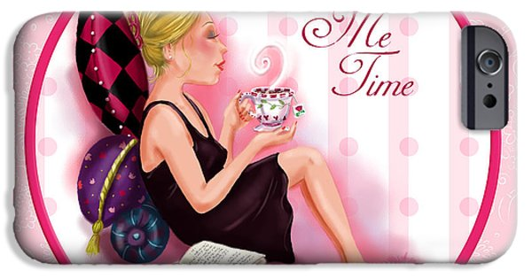 Lady Mixed Media iPhone Cases - Me Time iPhone Case by Shari Warren