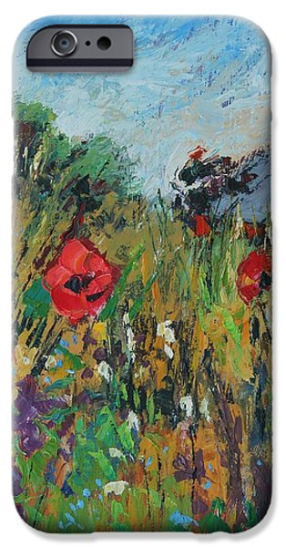 Meadow Photographs iPhone Cases - Meadow Flowers, 2012, Oil On Board iPhone Case by Sylvia Paul