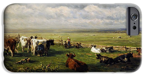 19th Century Photographs iPhone Cases - Meadow Landscape With Cattle, C. 1880, By Willem Roelofs 1822-1897 iPhone Case by Bridgeman Images