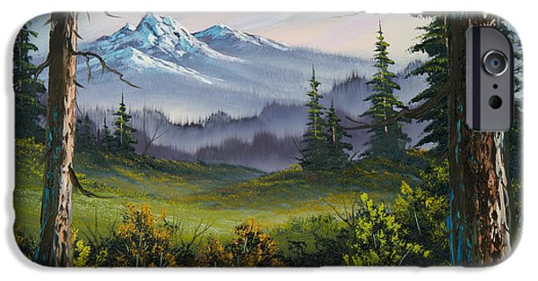 Bob Ross Paintings iPhone Cases - Meadow View iPhone Case by C Steele