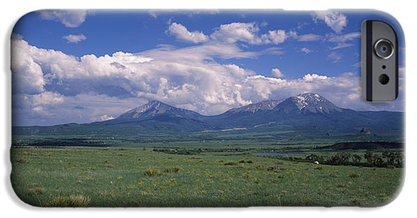 Meadow Photographs iPhone Cases - Meadow With Mountains iPhone Case by Panoramic Images