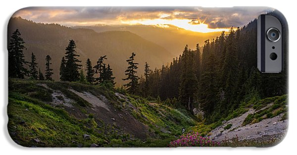 North Cascades iPhone Cases - Meadows Dusk Horizons iPhone Case by Mike Reid