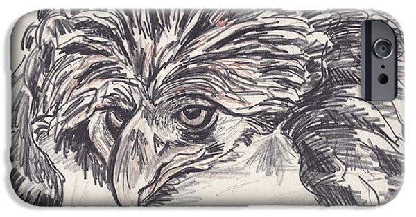 Mix Medium Drawings iPhone Cases - Mean eyes iPhone Case by David Chesnutt
