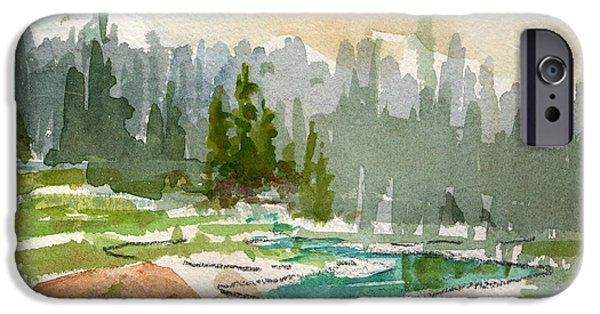 Park Scene Paintings iPhone Cases - Meandering Stream iPhone Case by Mohamed Hirji