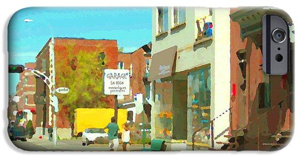 Outremont iPhone Cases - Mecanique Generales Lo Dico Garage Et Divine Coiffure Van Horne Montreal City Scene Carole Spandau iPhone Case by Carole Spandau