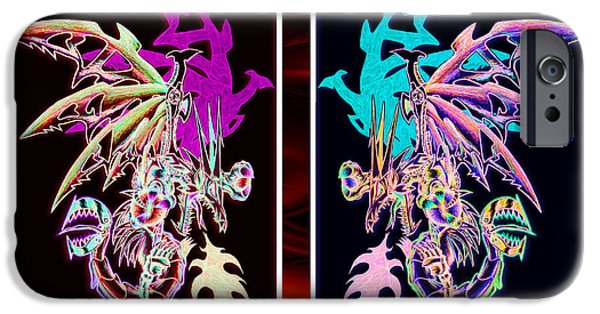 Weapon Pastels iPhone Cases - Mech Dragons Pastel iPhone Case by Shawn Dall