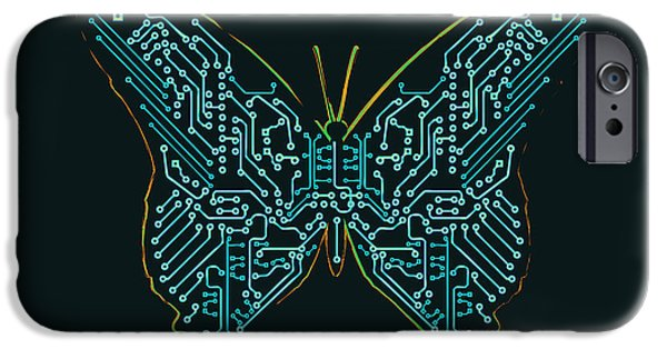 Circuit iPhone Cases - Mechanic butterfly iPhone Case by Budi Satria Kwan