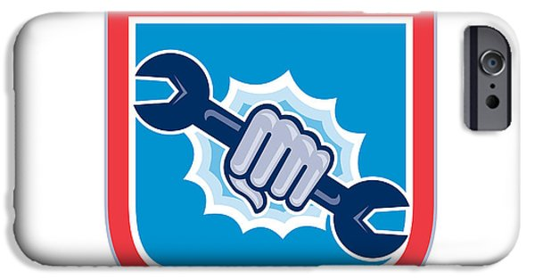 Punching Digital iPhone Cases - Mechanic Hand Holding Spanner Shield Punching  iPhone Case by Aloysius Patrimonio
