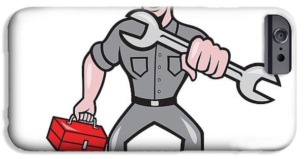 Punching Digital iPhone Cases - Mechanic Punching With Spanner Cartoon iPhone Case by Aloysius Patrimonio